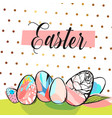 easter greeting card with colorful eggs and bunny vector image