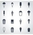 black ice cream icon set vector image