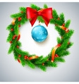 Christmas wreath fir branches red berries and vector image