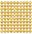 100 cyber security icons set gold vector image