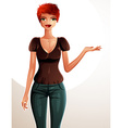 a young pretty woman with a modern haircut Full vector image