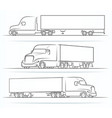 american truck silhouettes outlines contours vector image