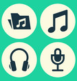 audio icons set collection of mike music vector image vector image