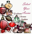 background with perfumes drawn in watercolor vector image vector image