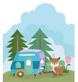camping cute deer trailer flowers trees nature vector image