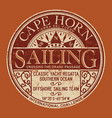 cape horn sailing regatta nautical badge vector image vector image
