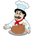 cartoon chef with roasted meat vector image vector image
