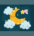 cartoon moon and clouds vector image vector image