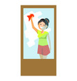 cheerful woman wiping window vector image vector image