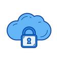 cloud security line icon vector image vector image