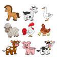 cute cartoon farm animals set color with black vector image