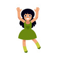 cute dark-haired girl in dress dances vector image