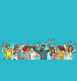 dancing young men boys and girls copy space on vector image vector image