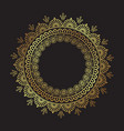 decorative indian round lace ornate gold mandala vector image vector image