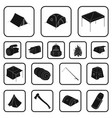 different kinds of tents black icons in set vector image vector image