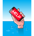 Drowning man with Smartphone in Hand vector image vector image