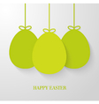 Easter greeting card with hanging paper green eggs vector image