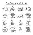 eco transport icon set in thin linestyle vector image vector image