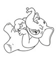 elephant laughs holding her stomach vector image vector image