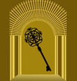 fairy tale golden gate with black antique key vector image vector image