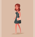 fashioned girl female character vector image