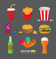 fast food icons isolated on gray background vector image