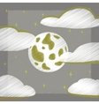 flat shading style icon full moon sky vector image vector image