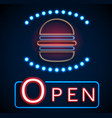 glowing neon open signs vector image vector image
