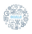 goals circular in outline vector image vector image
