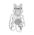 Hand drawn of cat boy with roses romantic design vector image vector image