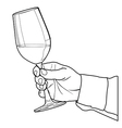 Hand holding glass of wine outline vector image vector image
