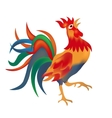 Image of a colorful bright red cock come on a vector image vector image