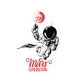 mars exploration handwritten phrase drawn vector image