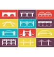 Modern Bridge Icons on Colorful Background Designs vector image vector image