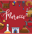 morocco promo poster with country symbols around vector image vector image