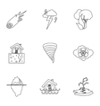 Natural disasters icons set outline style vector image vector image
