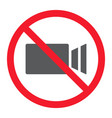 no filming glyph icon prohibition and forbidden vector image vector image