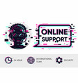 online support background man operator vector image