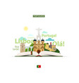 open book and portuguese sights vector image vector image