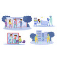people characters in protective masks walking vector image vector image