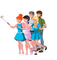 people group taking selfie photo friends vector image vector image