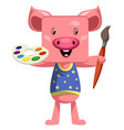 pig with paintbrush on white background vector image vector image