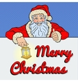 Pop Art Santa Claus with Merry Christmas Banner vector image