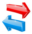 red and blue straight 3d arrows vector image vector image