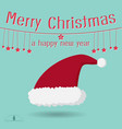 santa claus red hat on blue sky backgroundmerry vector image vector image
