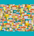 seamless city pattern with cartoon houses and vector image vector image