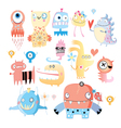 set funny monsters vector image vector image
