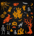 set halloween objects collection vector image vector image