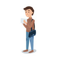 smiling male student in a brown sweater standing vector image vector image
