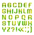 Spectral letters folded of paper ribbon-green and vector image vector image